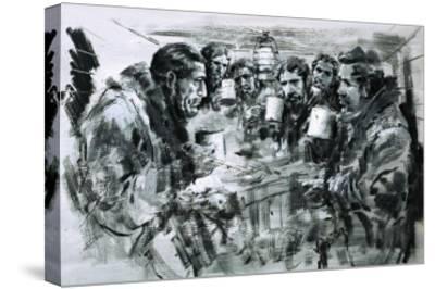 Roald Amundsen and His Companions Celebrating Christmas-Graham Coton-Stretched Canvas Print