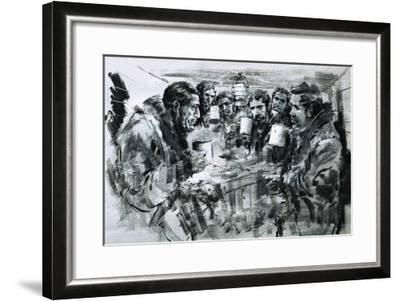 Roald Amundsen and His Companions Celebrating Christmas-Graham Coton-Framed Giclee Print
