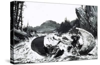 Alexander Mackenzie Begins His Quest to Find a Route Across Canada with a Hair-Raising River Ride-Graham Coton-Stretched Canvas Print