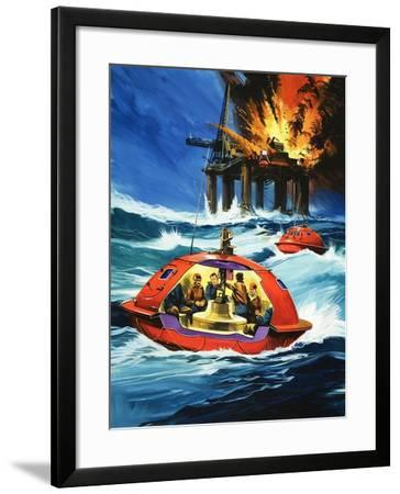 Unidentified Liferaft Escaping Explosion on Oil Rig-Wilf Hardy-Framed Giclee Print
