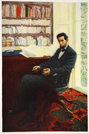 Portrait of Abraham Lincoln-Howard Pyle-Stretched Canvas Print