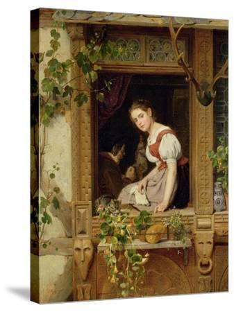 Dreaming on the Windowsill-August Friedrich Siegert-Stretched Canvas Print