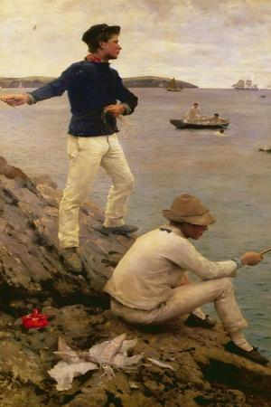 Fisher Boys, Falmouth, 1885-Henry Scott Tuke-Stretched Canvas Print