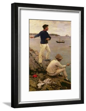 Fisher Boys, Falmouth, 1885-Henry Scott Tuke-Framed Giclee Print