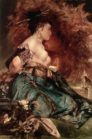 Japanese Girl-Hans Makart-Stretched Canvas Print