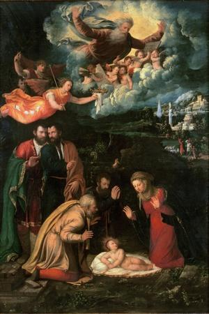 Nativity with God the Father-Battista Dossi-Stretched Canvas Print