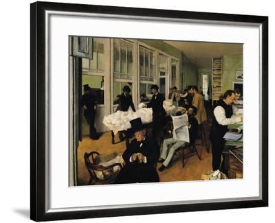 The Cotton Exchange, New Orleans, 1873-Edgar Degas-Framed Giclee Print