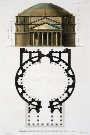 Ground and Facade: Pantheon, Rome, Le Costume Ancien et Moderne, c.1820-30- Fumagalli-Stretched Canvas Print