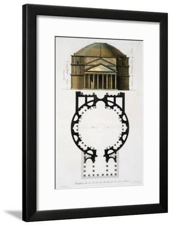 Ground and Facade: Pantheon, Rome, Le Costume Ancien et Moderne, c.1820-30- Fumagalli-Framed Giclee Print