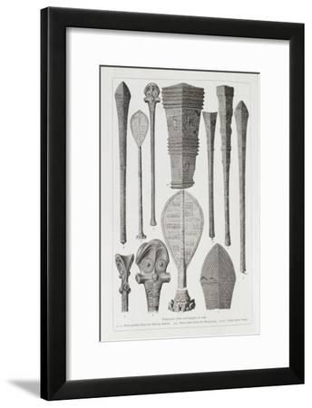 Polynesian Clubs and Insignia of Rank, The History of Mankind, Vol.1, Prof. Friedrich Ratzel, 1896--Framed Giclee Print