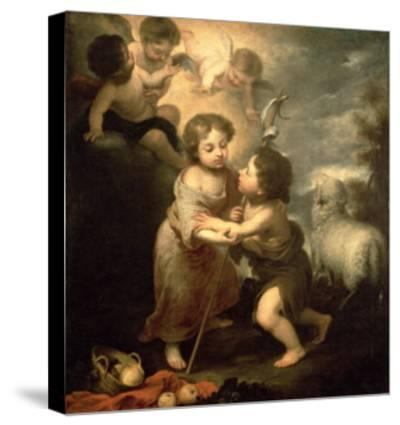 The Infants Christ and John the Baptist-Bartolome Esteban Murillo-Stretched Canvas Print