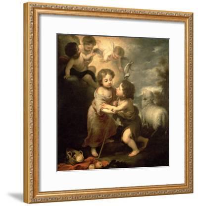The Infants Christ and John the Baptist-Bartolome Esteban Murillo-Framed Giclee Print