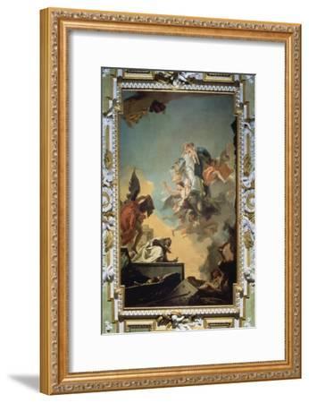The Virgin of Carmel Giving the Scapula to the Blessed Simon Stock, 1740's-Giovanni Battista Tiepolo-Framed Giclee Print
