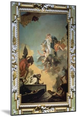 The Virgin of Carmel Giving the Scapula to the Blessed Simon Stock, 1740's-Giovanni Battista Tiepolo-Mounted Giclee Print