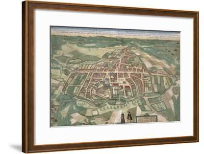 Map of Odense, from Civitates Orbis Terrarum by Georg Braun-Joris Hoefnagel-Framed Giclee Print