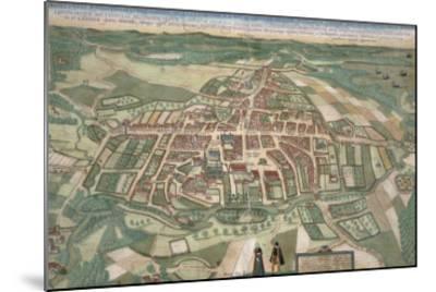 Map of Odense, from Civitates Orbis Terrarum by Georg Braun-Joris Hoefnagel-Mounted Giclee Print
