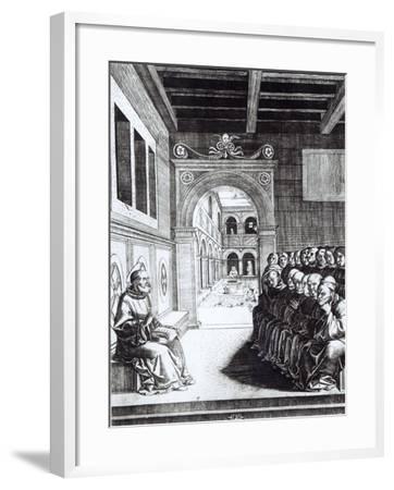 St. Benedict Preaching in the Monastery--Framed Giclee Print