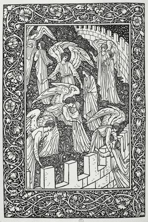 Angels Behind the Inner Sanctuary, from The Kelmscott Chaucer, Published by Kelmscott Press, 1896-William Morris-Stretched Canvas Print