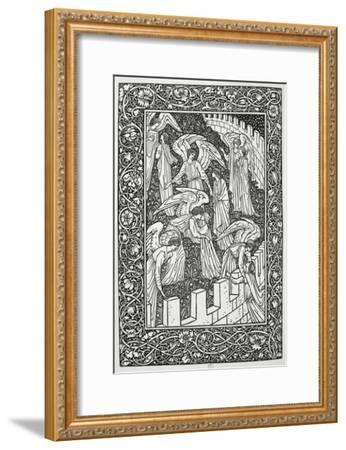 Angels Behind the Inner Sanctuary, from The Kelmscott Chaucer, Published by Kelmscott Press, 1896-William Morris-Framed Premium Giclee Print