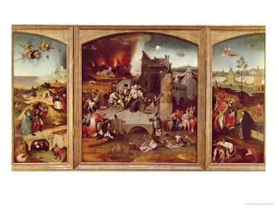 Triptych of the Temptation of St. Anthony-Hieronymus Bosch-Framed Giclee Print