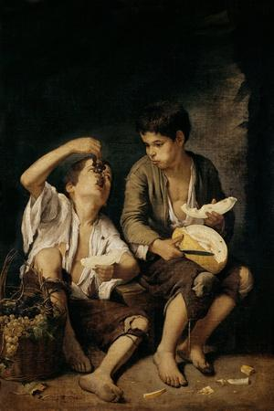 Two Children Eating a Melon and Grapes, 1645-46-Bartolome Esteban Murillo-Stretched Canvas Print