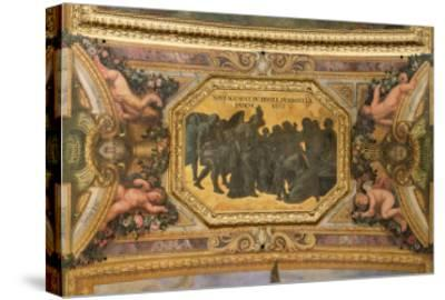 Helping the People During the Famine of 1662, Ceiling Painting from the Galerie Des Glaces-Charles Le Brun-Stretched Canvas Print
