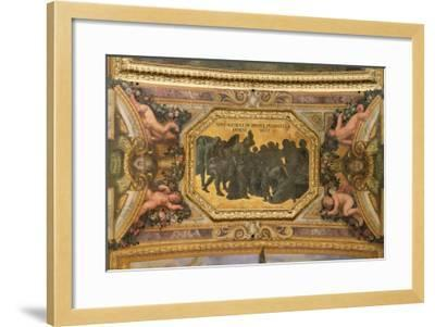 Helping the People During the Famine of 1662, Ceiling Painting from the Galerie Des Glaces-Charles Le Brun-Framed Giclee Print