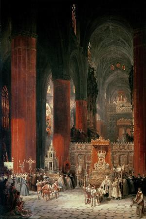 Procession in Seville Cathedral, 1833-David Roberts-Stretched Canvas Print
