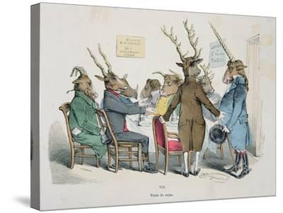 Repas de Corps, Caricature from Les Metamorphoses du Jour Series, Reprinted in 1854- Grandville-Stretched Canvas Print