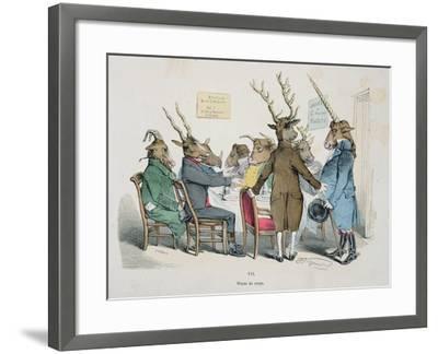 Repas de Corps, Caricature from Les Metamorphoses du Jour Series, Reprinted in 1854- Grandville-Framed Giclee Print