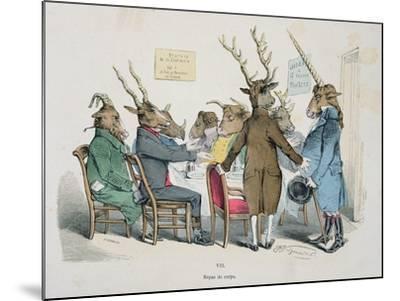 Repas de Corps, Caricature from Les Metamorphoses du Jour Series, Reprinted in 1854- Grandville-Mounted Giclee Print