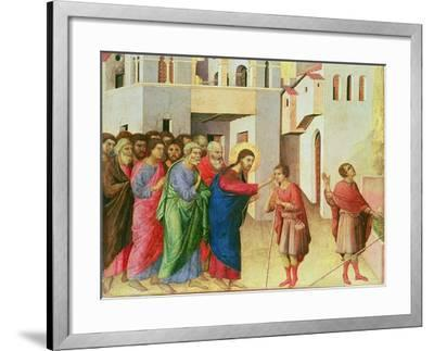 Jesus Opens the Eyes of a Man Born Blind, 1311-Duccio di Buoninsegna-Framed Giclee Print