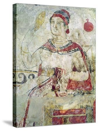 Woman at Her Toilet, Detail from a Funerary Scene, Samnite Period, 5th-4th Century BC-Etruscan-Stretched Canvas Print
