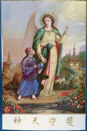 Guardian Angel, Religious Imagery For the Chinese Market--Stretched Canvas Print