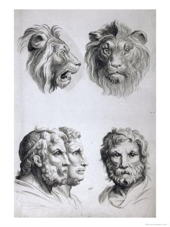Similarities Between the Head of a Lion and a Man-Charles Le Brun-Framed Giclee Print