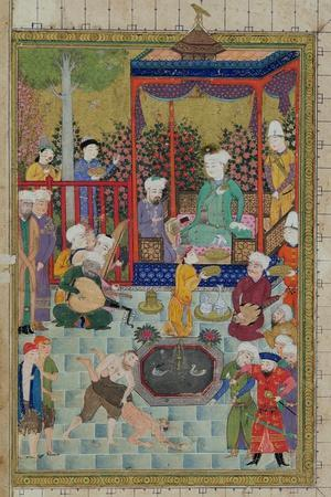 Princely Reception, Illustration from the Shahnama--Stretched Canvas Print