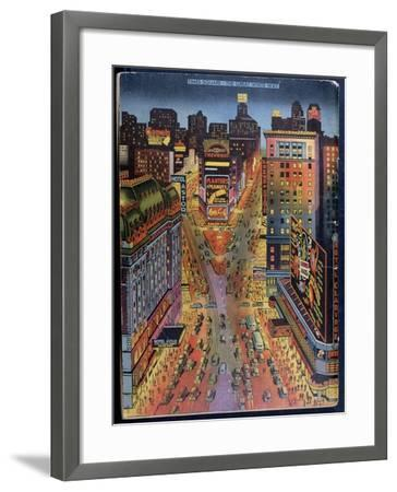 The Great White Way Times Square, New York City, Illustration from the New York Illustrated, 1938--Framed Giclee Print