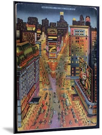 The Great White Way Times Square, New York City, Illustration from the New York Illustrated, 1938--Mounted Giclee Print