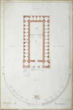 Plan of the Temple of Solomon in Jerusalem, Mid 19th Century-Andre Lenoir-Stretched Canvas Print