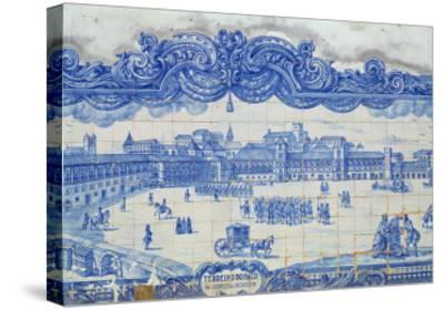 Azulejos Tiles Depicting the Praca Do Comercio, Lisbon--Stretched Canvas Print