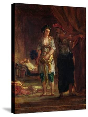 Interior of a Harem in Oran, c.1847-Eugene Delacroix-Stretched Canvas Print