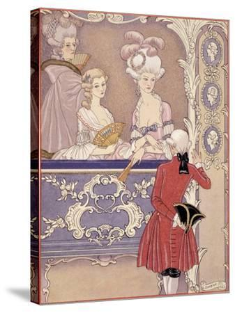 Women in a Theater Box, Illustration from Les Liaisons Dangereuses by Pierre Choderlos de Laclos-Georges Barbier-Stretched Canvas Print