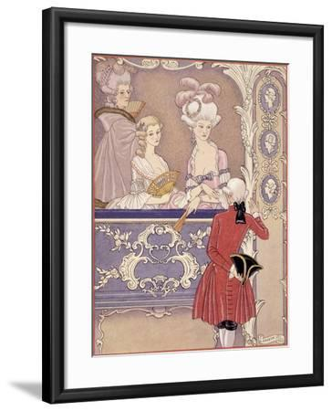 Women in a Theater Box, Illustration from Les Liaisons Dangereuses by Pierre Choderlos de Laclos-Georges Barbier-Framed Giclee Print