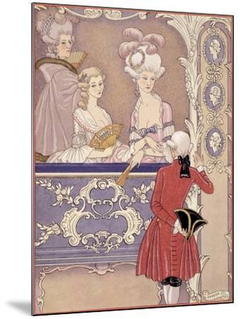 Women in a Theater Box, Illustration from Les Liaisons Dangereuses by Pierre Choderlos de Laclos-Georges Barbier-Mounted Giclee Print