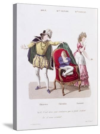 Count Discovers Cherubin, The Marriage of Figaro by Pierre Augustin Caron de Beamarchais--Stretched Canvas Print