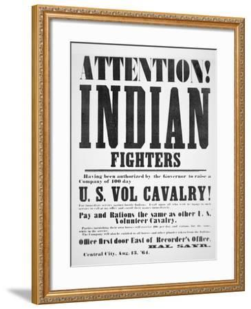 Recruitment Poster For the U.S. Volunteer Cavalry, 1864--Framed Giclee Print