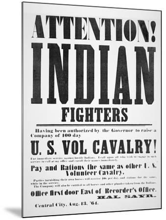 Recruitment Poster For the U.S. Volunteer Cavalry, 1864--Mounted Giclee Print