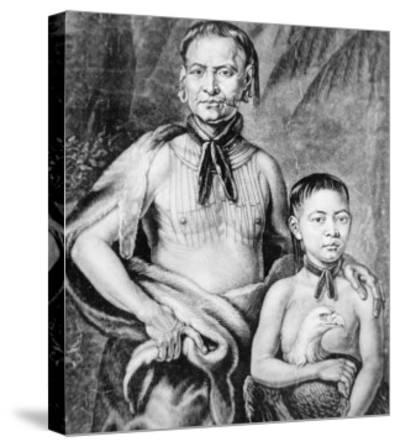 Tomochichi and His Nephew Toonahowi of the Lower Creek Tribe of the South East, 1734--Stretched Canvas Print