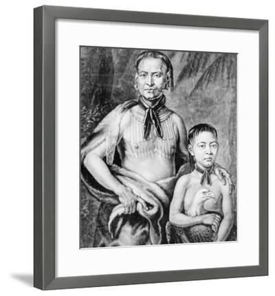 Tomochichi and His Nephew Toonahowi of the Lower Creek Tribe of the South East, 1734--Framed Giclee Print