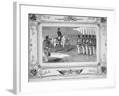General Andrew Jackson Speaks to Tennessee Militia Before the Battle of Horsehoe Bend, 1814, 1847--Framed Giclee Print